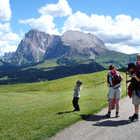 Hiking Family, Alpe di Siusi, Dolomites, Italy