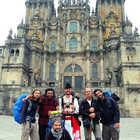 Camino Pilgrims at Cathedral, Santiago de Compostela, Spain