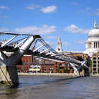 Millennium Bridge and St. Paul's Cathedral, London, England