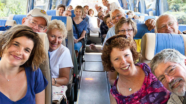 Rick Steves tour group on the bus