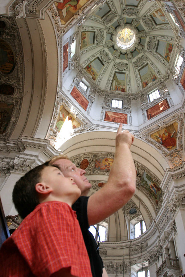 Father and Son in Cathedral, Salzburg, Austria
