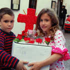 Kids with Red Cross Box, Cordoba, Andalucia, Spain